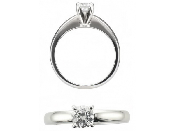 14KW RBC 0.55CT VS2 G FOREVER 10 LASER INSCRIBED BMM1963 SOLITAIRE DIAMOND RING