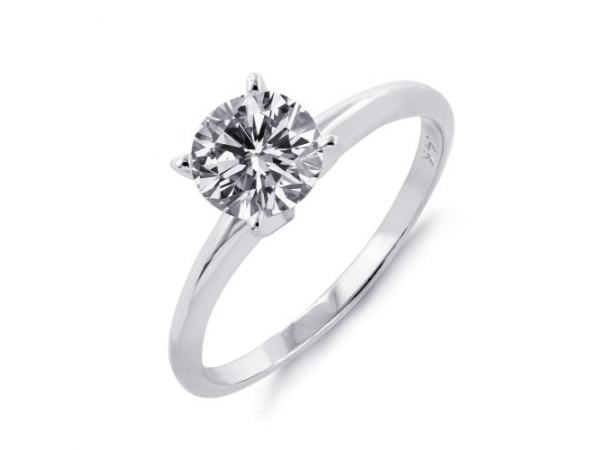 "14KW RBC 0.51CT SI1 F FOREVER 10 DIAMOND LASER INSCRIBED :FOREVER 10 0004452205"" SOLITAIRE ENGAGEMENT RING"
