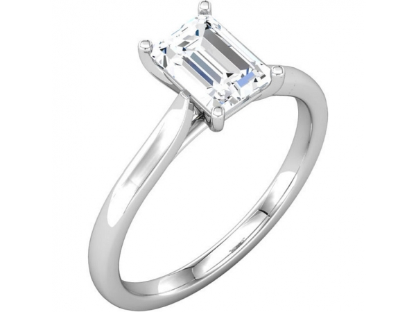 18KW RADIANT 0.81CT SI2 G DIAMOND SOLITAIRE ENGAGEMENT RING