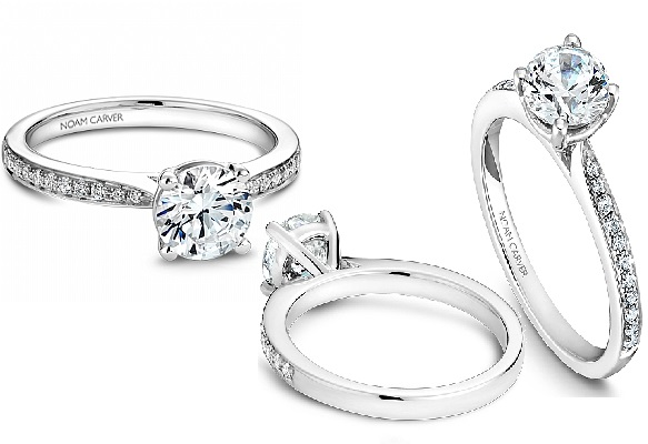 NOAM CARVER CLASSIC SHOULDERED SOLITAIRE DIAMOND ENGAGEMENT RING 22=0.16TW (SI-1) DIAMONDS (FITS 1.00CT CENTRE STONE NOT INCLUDED)