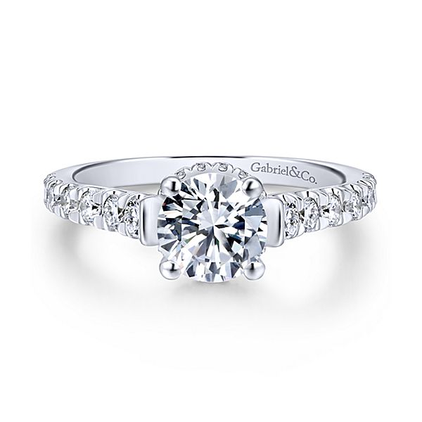 sample White Gold Round Straight Diamond Engagement Ring Matilda * Setting only, center stone not included. fits 0.75CT