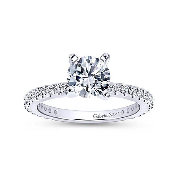 sample White Gold Straight Diamond Engagement Ring Logan * Setting only, center stone not included. fits 0.75CT
