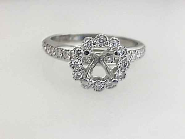 14KW 5MM RBC FOREVER ONE MOISSANITE, 28 = 0.37TW RBC DIAMOND HALO ENGAGEMENT RING